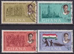GHANA 1964 SG 335-38a Compl.set+m/s Used Fourth Anniv Of Republic - Ghana (1957-...)