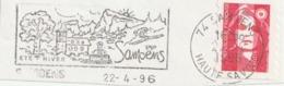 France. Fragment De Lettre Avec Flamme Postale 1996. Samoëns. Eté. Hiver. Cachet Postal. Timbre Marianne De Briat. - Mechanische Stempels (reclame)