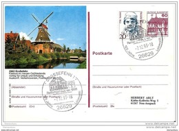 "78 - 85 - Entier Postal Allemand ""Moulin Grossefehn"" Et Oblit Illustrée De Grossefehn 1993 - Windmills"