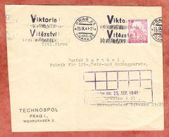 Brief, Technospol Prag, MS Band Viktoria..., Nach Dresden 1941 (94516) - Bohemia Y Moravia