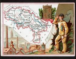 Chromo Anonyme - Province Du Hainaut - Carte Géographique - Costume - Blason - 2 Scans - Trade Cards