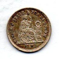 PERU, 1/2 Real, Silver, Year 1861, KM #180 - Peru
