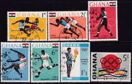 GHANA 1964 SG 347-53a Compl.set+m/s Used Olympic Games, Tokyo - Ghana (1957-...)