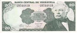 BILLETE DE VENEZUELA DE 20 BOLIVARES DEL AÑO 1987 SIN CIRCULAR  (BANKNOTE) UNCIRCULATED (BANKNOTE) - Venezuela