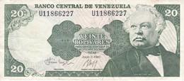 BILLETE DE VENEZUELA DE 20 BOLIVARES DEL AÑO 1987 CALIDAD MBC (VF)  (BANKNOTE) - Venezuela