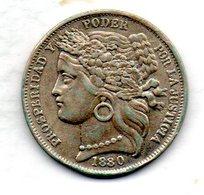 PERU, 1 Peseta, Silver, Year 1880, KM #200.1 - Peru