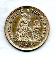 PERU, 1/2 Dinero, Silver, Year 1864, KM #189 - Peru