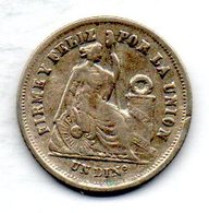 PERU, 1 Dinero, Silver, Year 1877, KM #190 - Peru