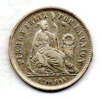 PERU, 1/5 Sol, Silver, Year 1867, KM #191 - Peru