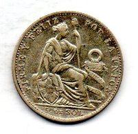 PERU, 1/5 Sol, Silver, Year 1910, KM #205.2 - Peru