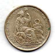 PERU, 1/2 Sol, Silver, Year 1928, KM #216 - Peru
