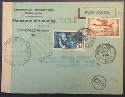 Env Libreville GABON 30 Sept 1939 Vers Abidjan CÔTE D'IVOIRE Cachets CONTROLE POSTAL AEF Et AOF Bande De Censure - Guerre De 1939-45