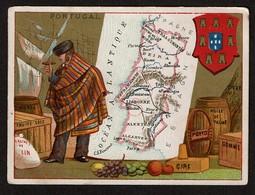 Chromo Anonyme - Portugal - Carte Géographique - Costume - Blason - 2 Scans - Trade Cards