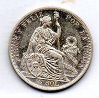 PERU, 1/2 Sol, Silver, Year 1907, KM #203 - Peru