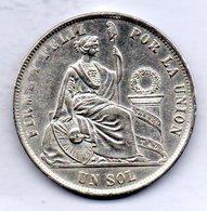 PERU, 1 Sol, Silver, Year 1872, KM #196.3 - Peru