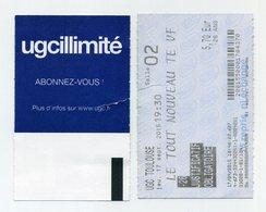 French Cinema Entrance Ticket - Ticket De Cinéma UGC Toulouse - Voir Recto Et Verso (UGC Illimité) Sur Image - Tickets D'entrée