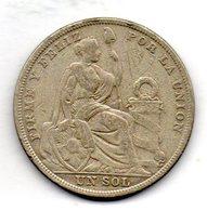 PERU, 1 Sol, Silver, Year 1923, KM #218.1 - Peru