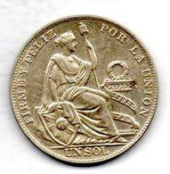 PERU, 1 Sol, Silver, Year 1934, KM #218.2 - Peru