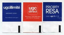 Lot De 3 Tickets De Cinéma UGC Toulouse - Verso Différents : UGC Illimité, Priority Resa, UGC Direct - Tickets D'entrée