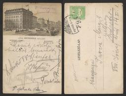 1910 Hungary BUDAPEST POSTCARD HOTEL Metropole - Turul Stamp 5 Fill. - Hungría