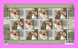 2020 Poland 100th Anniversary Of The Birth Saint John Paul II Joint Issue With Slovak Post With Tabs Mini Sheet MNH  ** - 1944-.... Republic