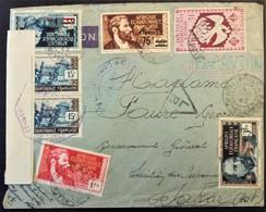 Enveloppe Brazzaville MOYEN-CONGO AEF Adjudant Camp D'internement Oubangui Chari > Dakar AOF Bande De Censure NIGERIA - Guerre De 1939-45