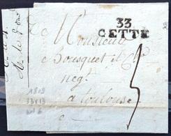 "MARQUE LINEAIRE ""33 CETTE "" - HERAULT - 33 X 13 - LAC - 1809 - Marcophilie (Lettres)"