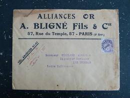 FRANCE PREOBLITERE YT 43 TYPE BLANC - ENTETE ALLIANCES OR A. BLIGNE FILS & Cie 57 RUE DU TEMPLE PARIS 4e - Préoblitérés