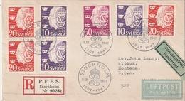Schweden / 1947 / Mi. 329-331 Reco-/Lupo-FDC In Die USA (BL24) - Schweden