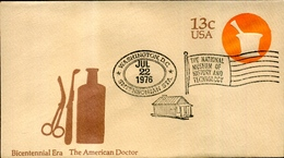 """FDC 1976 13 C Stationery Envelope """"The American Doctor"""" (small Format, CTO Washington D.C.) - Postal Stationery"""