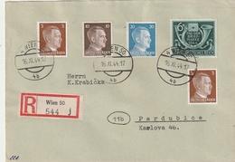 Deutsches Reich / 1944 / Mi. 904 MiF Auf Reco-Brief Ex Wien Nach Pardubice (BL27) - Deutschland