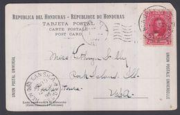 1905. HONDURAS. 2 CENTAVOS Santos Guardiola On Post Card HOTEL LEFEBVRE - EL COMEDOR.... (Michel 94) - JF362102 - Honduras