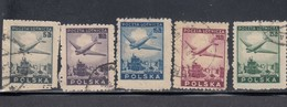 Poland, Scott #C13-C17, Used, Plane Over Ruins Of Warsaw, Issued 1946 - Airmail
