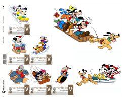 Ukraine 2020, Luge, Disney Cartoon Characters, Sheetlet Of 6v - Ukraine