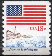 USA 1981 Coil Stamp: 18¢ Flag And Lighthouse - United States