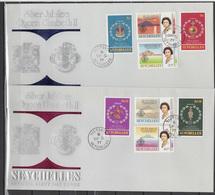 Seychelles 1977 Queen Elizabeth II Silver Jubilee Set Of 8 + S/s On 3 FDC - Case Reali