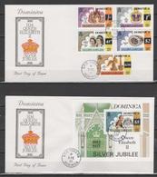 Dominica 1977 Queen Elizabeth II Silver Jubilee Set Of 5 + S/s On 2 FDC - Case Reali