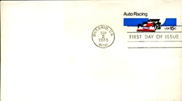 """FDC 1978 15 C Stationery Envelope """"Auto Racing"""" (small Format, CTO Ontario, CA) - Postal Stationery"""