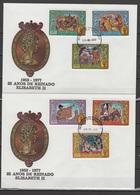 Guinea-Bissau 1977 Queen Elizabeth II Silver Jubilee Set Of 6 + S/s On 2 FDC - Case Reali