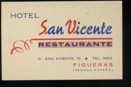 Figueras Hotel San Vicente Restaurante Tarjeta De Visita  8x12cm - Visiting Cards
