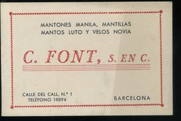 Barcelona Font Mantones Manila Mantillas Mantos Luto Y Velos Novia Tarjeta De Visita   8x12cm - Visiting Cards