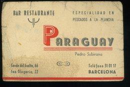 Barcelona Paraguay Bar Restaurante Tarjeta De Visita   8x12cm Mauvais Etat Mal Estado - Visiting Cards