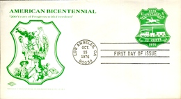 """FDC 1976 13 C Stationery Envelope """"American Bicentennial"""" (small Format, CTO Los Angeles) - Postal Stationery"""