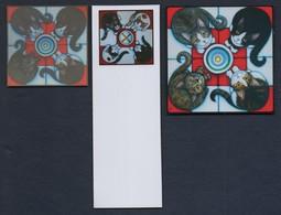 -066-  CHAT  -  TRIO MARQUE PAGE + CARTE + AUTOCOLLANT - Bookmarks