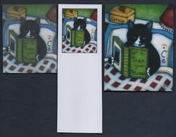 -069-  CHAT  -  TRIO MARQUE PAGE + CARTE + AUTOCOLLANT - Bookmarks