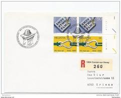 """74 -59 - Enveloppe Suisse Avec Oblit Spéciale """"centenaire De La Naissance De Charlie Chaplin 1989"""" - Cinéma"""
