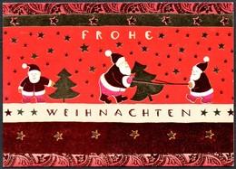 D6504 - Glückwunschkarte Weihnachten - Weihnachtsmann Tannebaum - Santa Claus