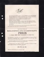 WAVRE-NOTRE-DAME Feron Maria-Joséphine En Religion Mère Marie Madeleine 1866-1896 Famille DE DECKER Schaerbeek - Obituary Notices