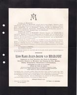 GAND WOLUWE-SAINT-LAMBERT Léon Van BRABANDT Ingénieur En Chef Postes Télégraphes 1872-1928  Directeur Chemins De Fer - Obituary Notices