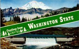 Washington Greetings Showing Mount Rainier And Grand Coulee Dam - Etats-Unis